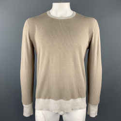 Tse Size L Oatmeal & Grey Knit Cashmere / Silk Thermal Textured Crew-neck Pullover