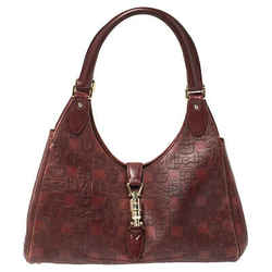 Gucci Dark Red Horsebit Embossed Leather Bardot Bag