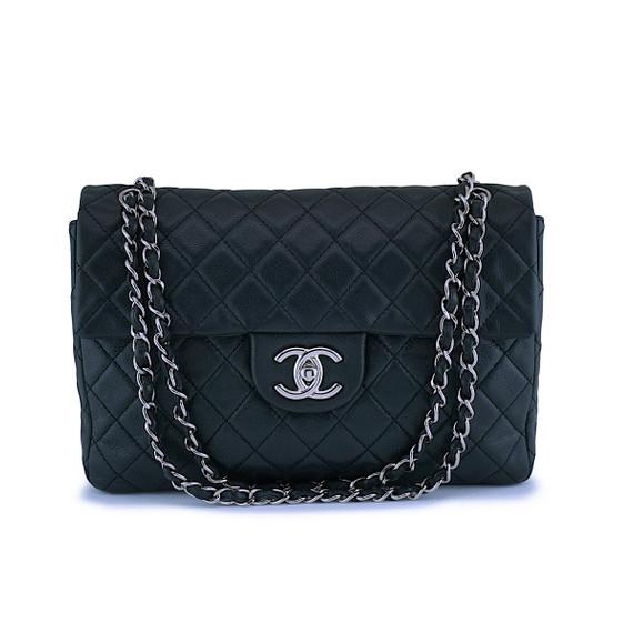 "Chanel Rare Black Soft Caviar Maxi ""Jumbo XL"" Classic Double Flap Bag SHW"