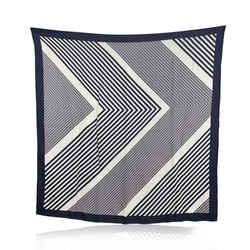Gucci White and Blue Striped Geometric Silk Scarf