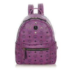 Vintage Authentic MCM Purple Calf Leather Visetos Stark Backpack Germany