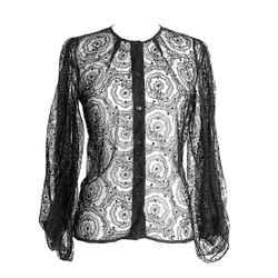 Fendi Blouse Beautiful Black Lace 42 Fits 6 To 8  Nwt