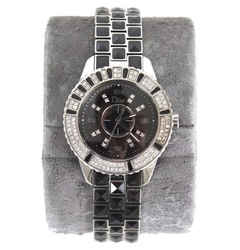 Dior Christian Black Pyramid Sapphire Christal Stainless Steel Ladies Wristwatch