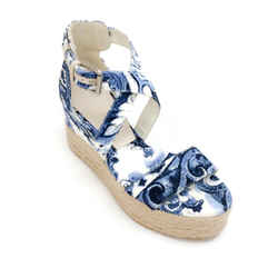 Ralph Lauren Collection Blue / White Canvas Wedge Espadrille Sandals