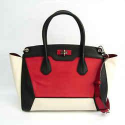Bally Women's Leather Handbag,Shoulder Bag Black,Cream,Red Color BF532341