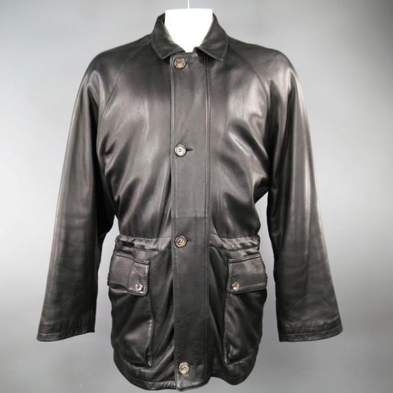 Loro Piana 44 Black Leather Drawstring Waist Cashmere Lining 'horsey'  Jacket