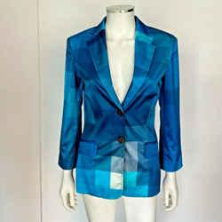 Vintage 90s Moschino Blazer Blue Block Satin Rare Size 8 42 Fits Like Us 4