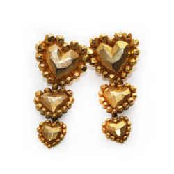 Emanuel Ungaro Gold Three Heart Earrings