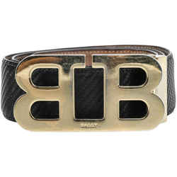 Bally Mirror B Buckle Carbon Fiber Belt