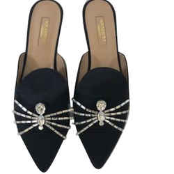 Aquazzura Black Satin Flat Mule