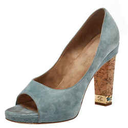 Chanel Light Blue Suede Cork Heel Open Toe Pumps Size 39