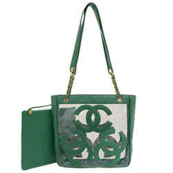 Auth Chanel Triple Coco Vinyl Tote Bag Green Leather