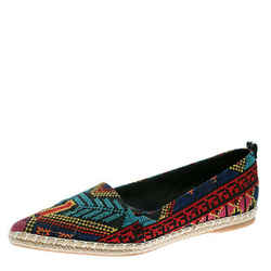 Nicholas Kirkwood Black/Multicolor Embroidered Twill Fabric Mexican Pointed T...