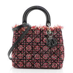 Lady Dior Bag Cannage Quilt Tweed with Leather Medium