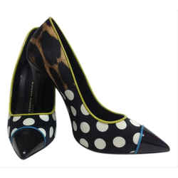 Giuseppe Zanotti Black And White Polka Dot and Animal Print Silk Pumps Size: US 6 Regular (M, B) Item #: 21930255
