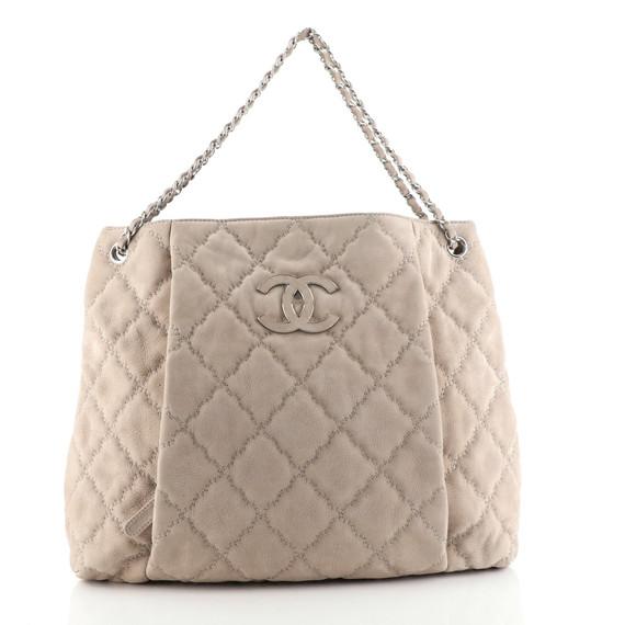 Double Stitch Hamptons Shoulder Bag Quilted Nubuck Large