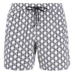 NEW Balmain Men's Black Large Monogram Polyester Bathing Suit Swim Shorts Trunks