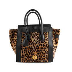 Celine Leopard Print Pony Hair Envelope Luggage Tote Bag