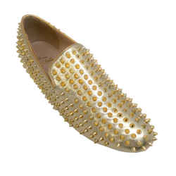 Christian Louboutin Men's Gold Spike Loafers