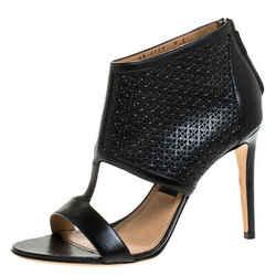 Salvatore Ferragamo Black Perforated Leather Pacella Open Toe Sandals Size 38.5