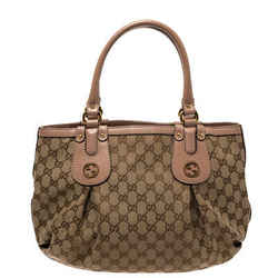Gucci Beige GG Canvas and Leather Small Scarlett Interlocking G Tote