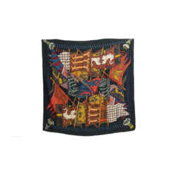Authentic Hermes Cashmere Silk Scarf Etendards et Bannieres Dark Green Faivre Vintage 90cm Carre