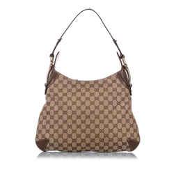 Brown Gucci GG Canvas Horsebit Creole Shoulder Bag
