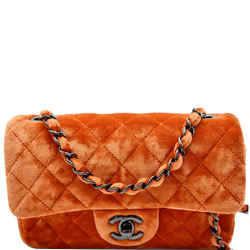 CHANEL  Small Flap Quilted Velvet Crossbody Bag Coral
