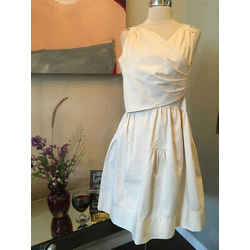 Fendi Sz 42 Ivory Stretch Cotton Structured Wrap Front  Dress-dryclean
