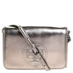 Tory Burch Metallic Grey Patent Leather Flap Crossbody Bag
