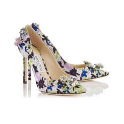 Jimmy Choo Floral Crystal Satin Jasmine 100 Pumps