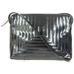 Fendi Ff Black Patent Leather Square Zigzag Stitch Crossbody Shoulder Bag Italy
