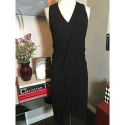 Helmut Lang Size S Black Jersey Patent Trim Dress 1713-12-1719