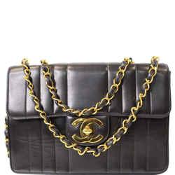 CHANEL Vintage Classic Jumbo Single Flap Vertical Lambskin Shoulder Bag Black