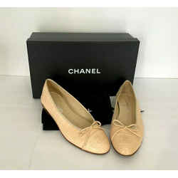 "$7150 Chanel Genuine Alligator Leather Beige Ballerina Flats ""cc"" Shoes 38.5 8.5"