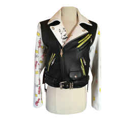 Chrome Hearts Matt Digiacomo Black White Leather Painted Moto Jacket