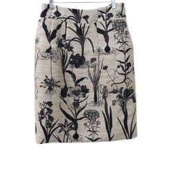 Oscar De La Renta Beige Floral Printed Silk Polyester Skirt sz 6