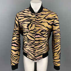 KENZO Size L Gold & Black Jacquard Polyester Blend Bomber Jacket