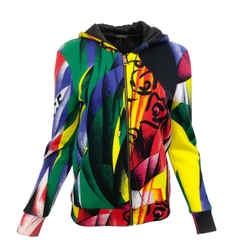Versace Multicolored Abstract Print Hooded Sweatshirt