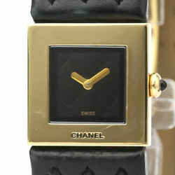 Polished CHANEL Matrasse 18K Gold Leather Quartz Ladies Watch H0111 BF527500