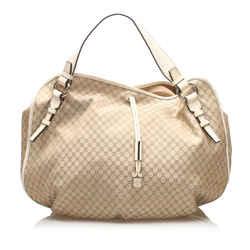 Brown Celine Macadam Canvas Hobo Bag