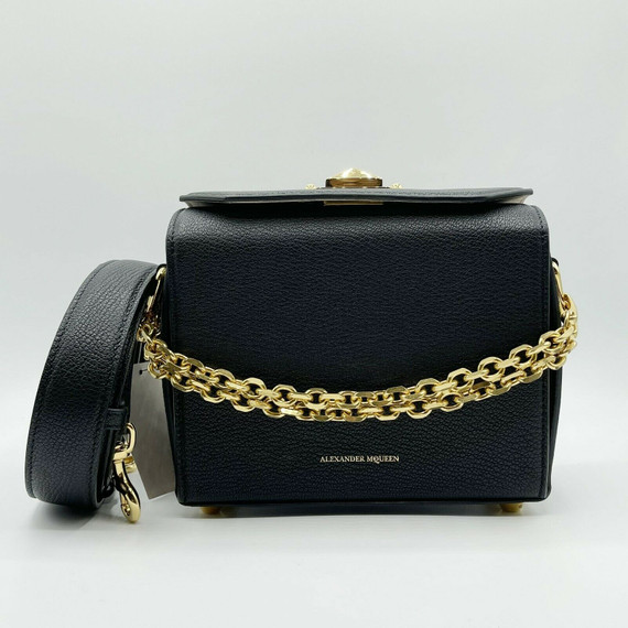 $1990 Alexander Mcqueen Black Leather Box 19 Bag With Gold Hardware 554126 1000