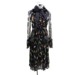 Gucci Black Green Lilac Print Silk Longsleeve Dress Sz 0
