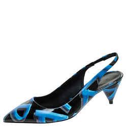 Burberry Black/Blue Leather Morson Slingback Sandals Size 40