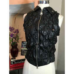 Doma Size S Black Leather Quilted Vest - 1008-89-101719
