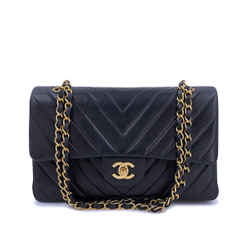 Chanel Vintage Black Chevron Medium Classic Double Flap Bag 24k Ghw