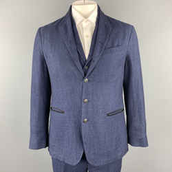 John Varvatos Chest Size 40 Blue Textured Linen / Wool Notch Lapel Suit