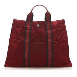Vintage Authentic Hermes Red Bordeaux Canvas Fabric Fourre Tout MM France