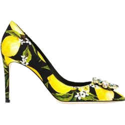 Dolce & Gabbana Lemon Embellished Pumps Yellow/Gold 7.5 Authenticity Guaranteed