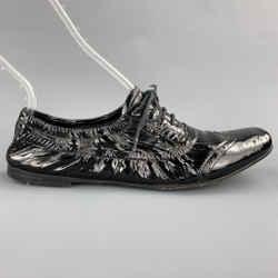 MIU MIU Size 7.5 Black Patent Perforated Leather Oxford Brogues